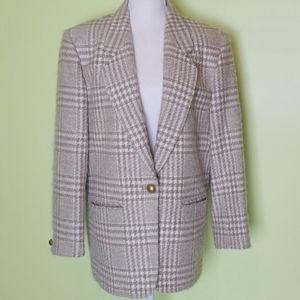 Pendleton wool plaid beige cream gold blazer sz 14